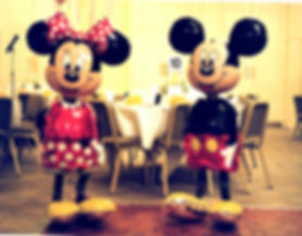 Childrens birthday party air walker micky and mini mouse helium balloons Harrogate
