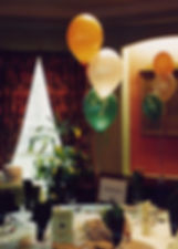 60th Birthday helium balloon table decorations are perfect for table centres, we will set up and display the balloons in your venue, hotel or village hall, we cover Harrogate, Knaresborough, Ripon, Leeds, Bradford, York, Wetherby and surrounding area
