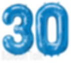 30th Birthday Balloon numbers, filled with helium these super shape balloons are perfect to make a big impression, they are available in gold, silver, blue, purple and can be made upto any age, we will display them at your venue, North Yorkshire
