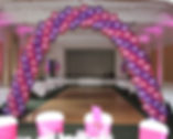 Helium balloon swirl arch the perfect way to frame the top table or dance floor at your wedding venu, they can be colour cordanated with your wedding dress or colour theme, we cover the whole of the Harrogate area and supply helium balloon decorations