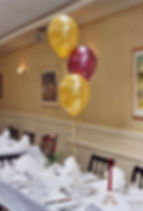 50th Birthday helium balloon table decorations are perfect for table centres, we will set up and display the balloons in your venue, hotel or village hall, we cover Harrogate, Knaresborough, Ripon, Leeds, Bradford, York, Wetherby and surrounding area