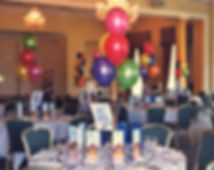 30th Birthday helium balloon table decorations are perfect for table centres, we will set up and display the balloons in your venue, hotel or village hall, we cover Harrogate, Knaresborough, Ripon, Leeds, Bradford, York, Wetherby and surrounding area