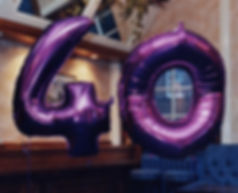 40th Birthday Balloons, filled with helium these super shape balloons are perfect to make a big impression, they are available in gold, silver, blue, purple and can be made upto any age, we will display them at your venue, we cover all North Yorkshire