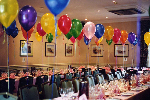 Helium Balloons Tide To Chair Backs Perfect For Your 50th Birthday Party Celebration We