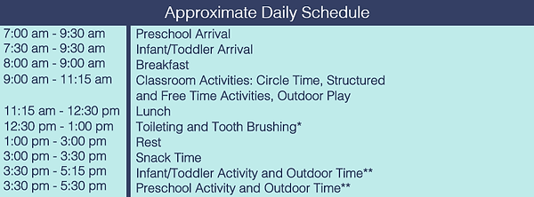 approximate daily schedule