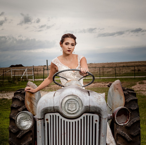 Bridal Shoot on Antique Tractor at JM Prosperity Farm Rustic Barn Venue