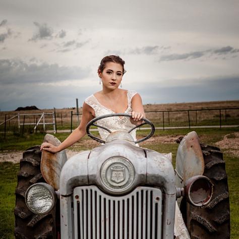 Bridal Shoot on Antique Tractor at JM Prosperity Farm Rustic Barn Venue
