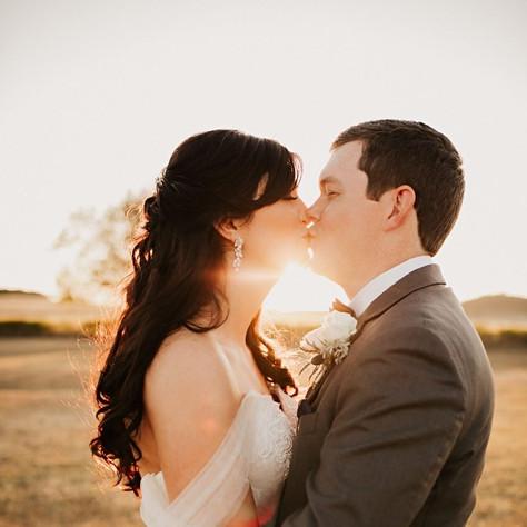 Wedding Sunset Bride and Groom at JM Prosperity Farm Rustic Barn Venue
