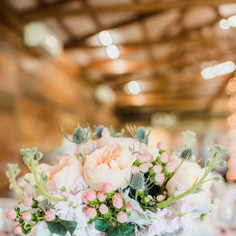 The lights, florals and place settings at JM Prosperity Farm