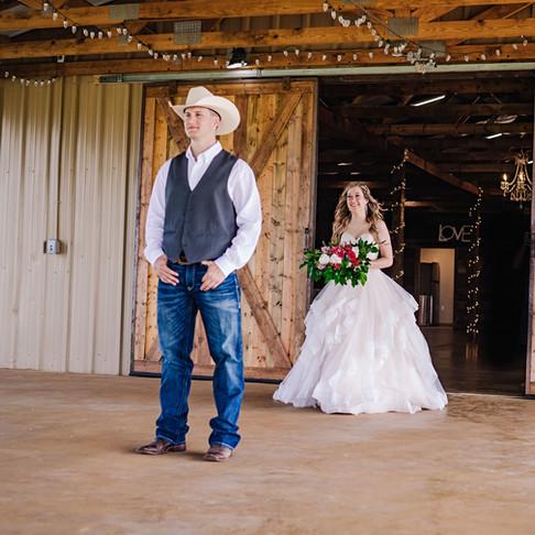 Wedding Day First Look! at JM Prosperity Farm Rustic Barn Venue