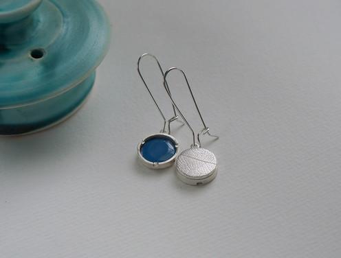 137 - Leafy Reversible Earrings - Blue 3