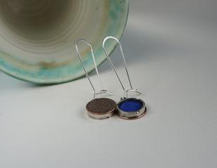 125 - Reversible Copper Enamel Earrings.