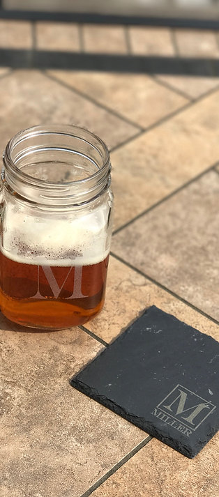 2 Mason Jar Glasses & 2 Slate Coasters