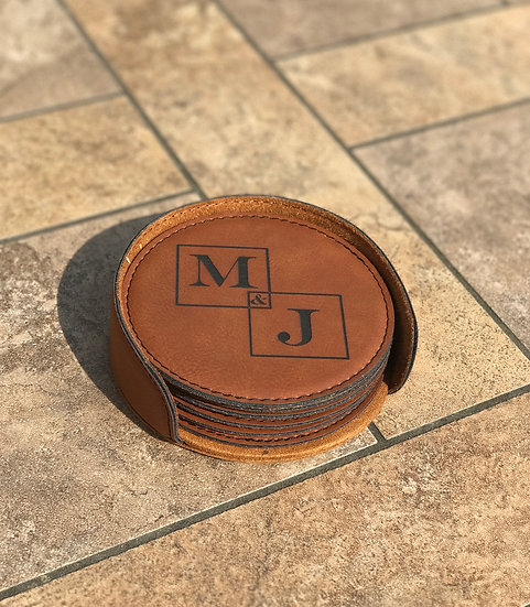 Leather Coaster Set with Holder
