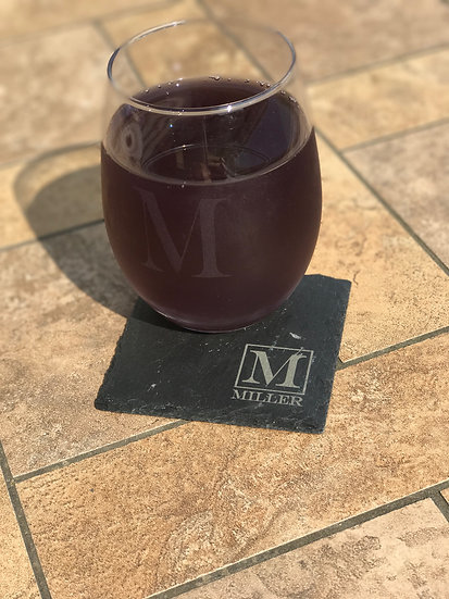 2 Stemless Wine Glasses & 2 Slate Coasters
