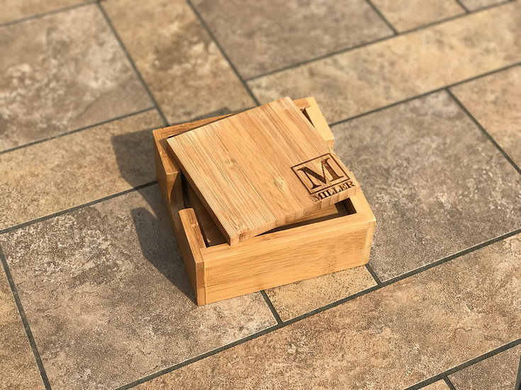 Bamboo Coaster Set with Holder