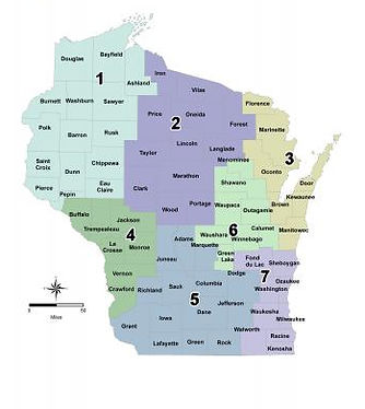 Map of the Regions in Wisconsin