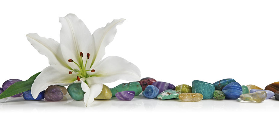 White Lily and healing Crystal - a solit