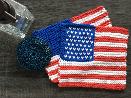 Free United States Flag Dishcloth Knitting Pattern