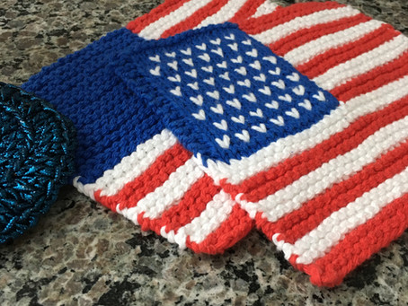 United States Flag Dishcloth Knitting Pattern Yarn Recommendations
