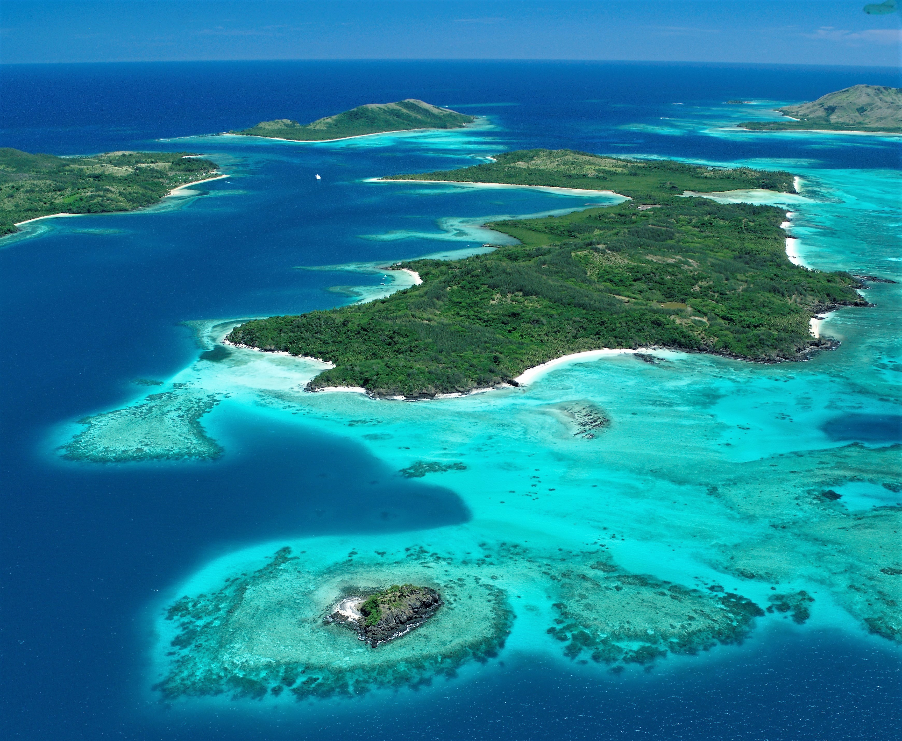 Aerial shot of the islands of Fiji