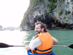 Kayaking with friends in Halong Bay