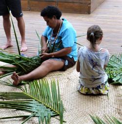 Coconut leaves basket weaving