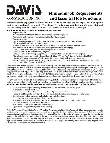 Minimum Job Requirements and Essential J