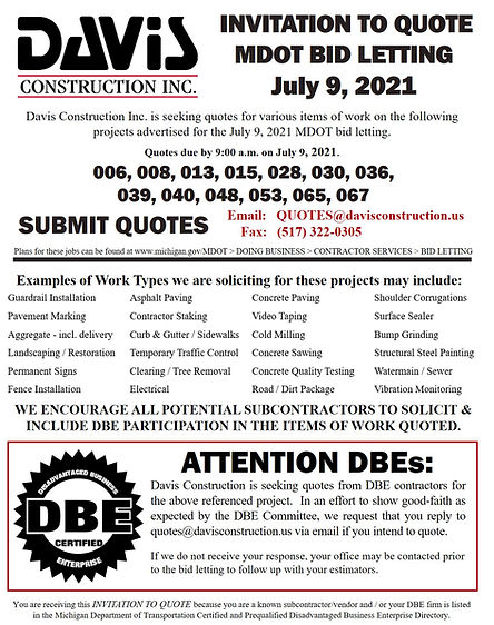 Invitation to Quote MDOT Letting - July