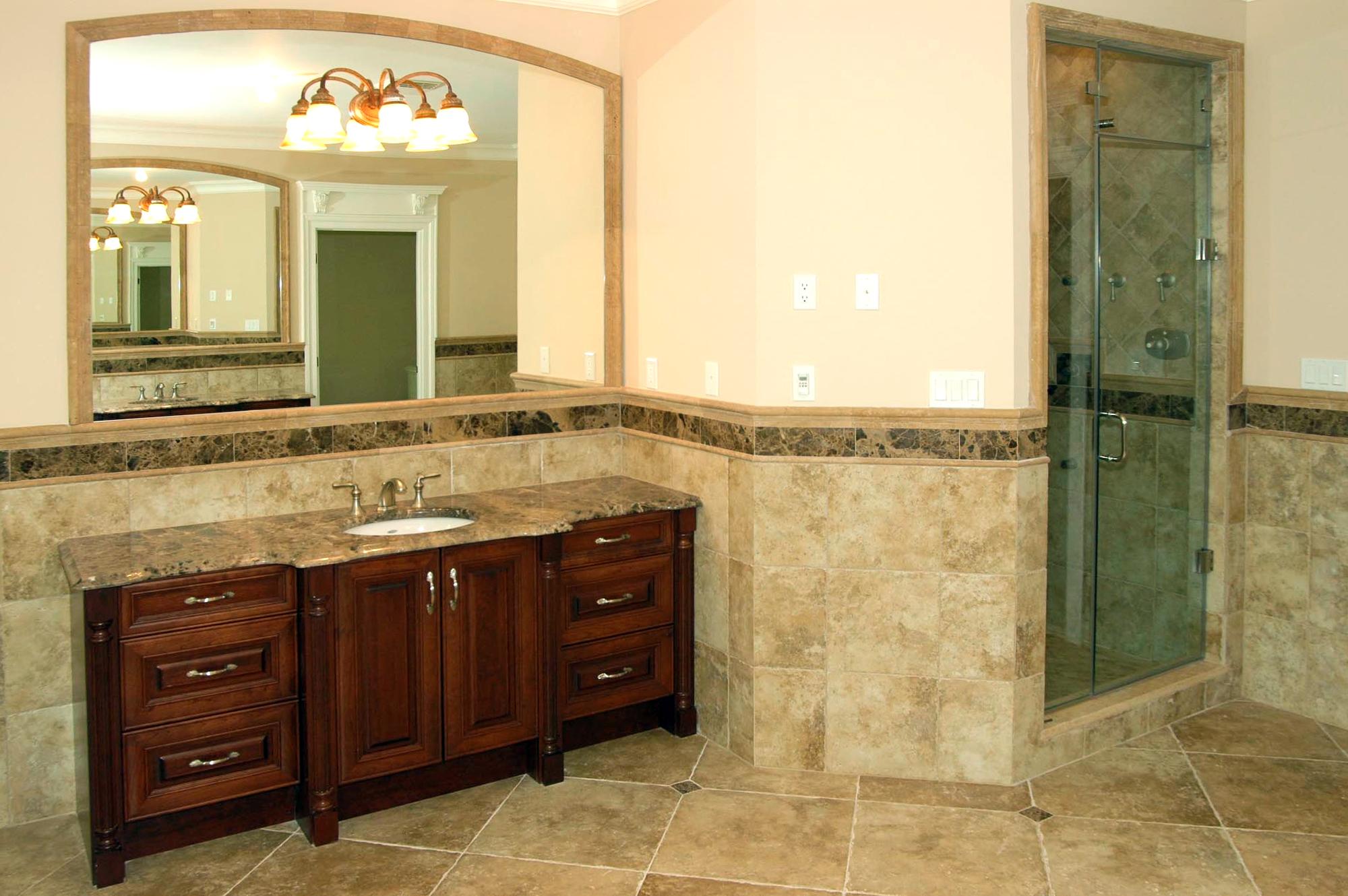 14 - Custom beveled vanity mirror