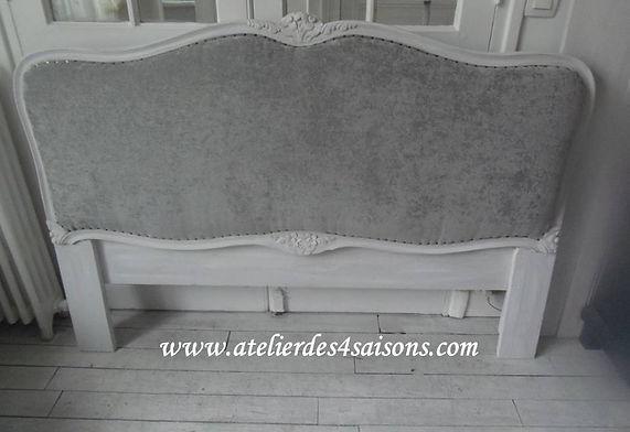 Tête de lit style Louis XV patinée gris