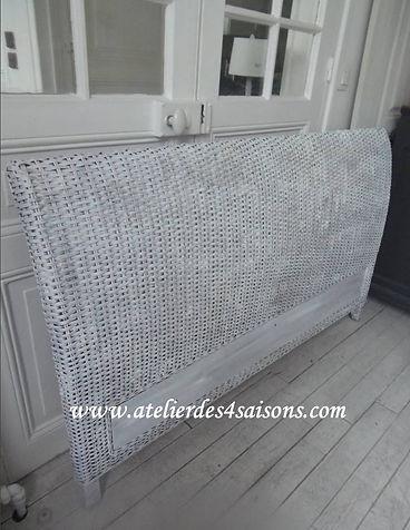 Tête de lit en rotin patinée craie Ateli