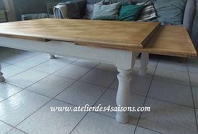 Table basse vintage avec rallonges patin