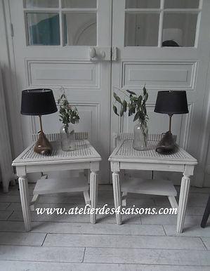 Chevets vintages gris perle Atelier des