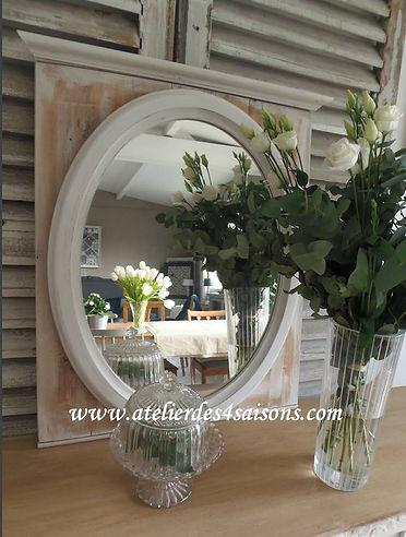 Miroir  patiné gris perle Atelier des 4