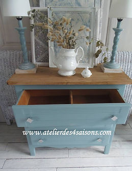 Commode vintage bleu orage Atelier des 4