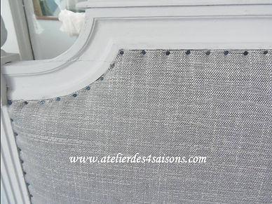 Tête de lit style Louis XVI patinée gris