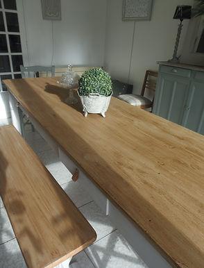 Table de ferme patinée gris perle Atelie