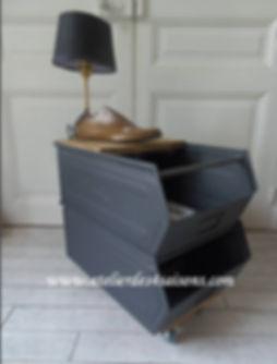 Cassiers indus sur roulettes gris ardois