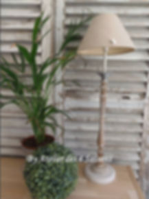 Lampe gris  galet , bois Atelier des 4 s