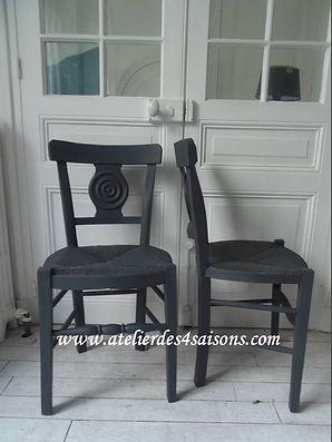 Chaises vintage paillées gris ardoise At