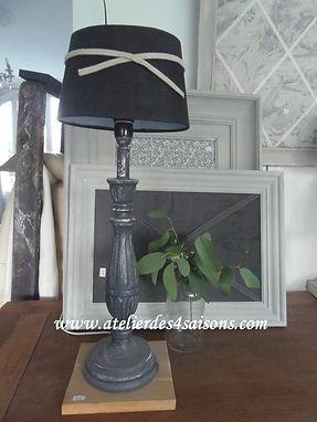 Lampes patinées gris ardoise blanc poudr