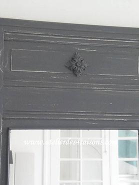Miroir , trumeau patiné gris ardoise Ate