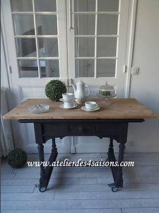 Table , bureau, console noir charbon Ate