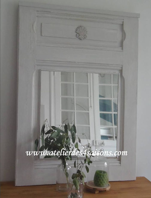 Miroir , trumeau patiné gris perle Ateli