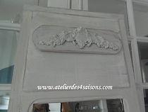 Miroir , trumeau ancien patiné gris perl
