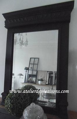 Miroir , trumeau ancien noir charbon Ate