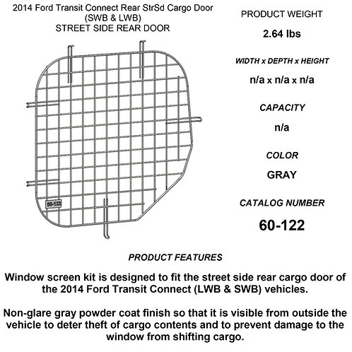 Adrian Steel Window Security Screen - 2014-2018 Transit Connect Driver Side