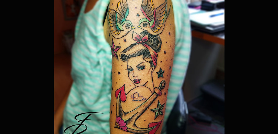 Old School Girl Tattoo