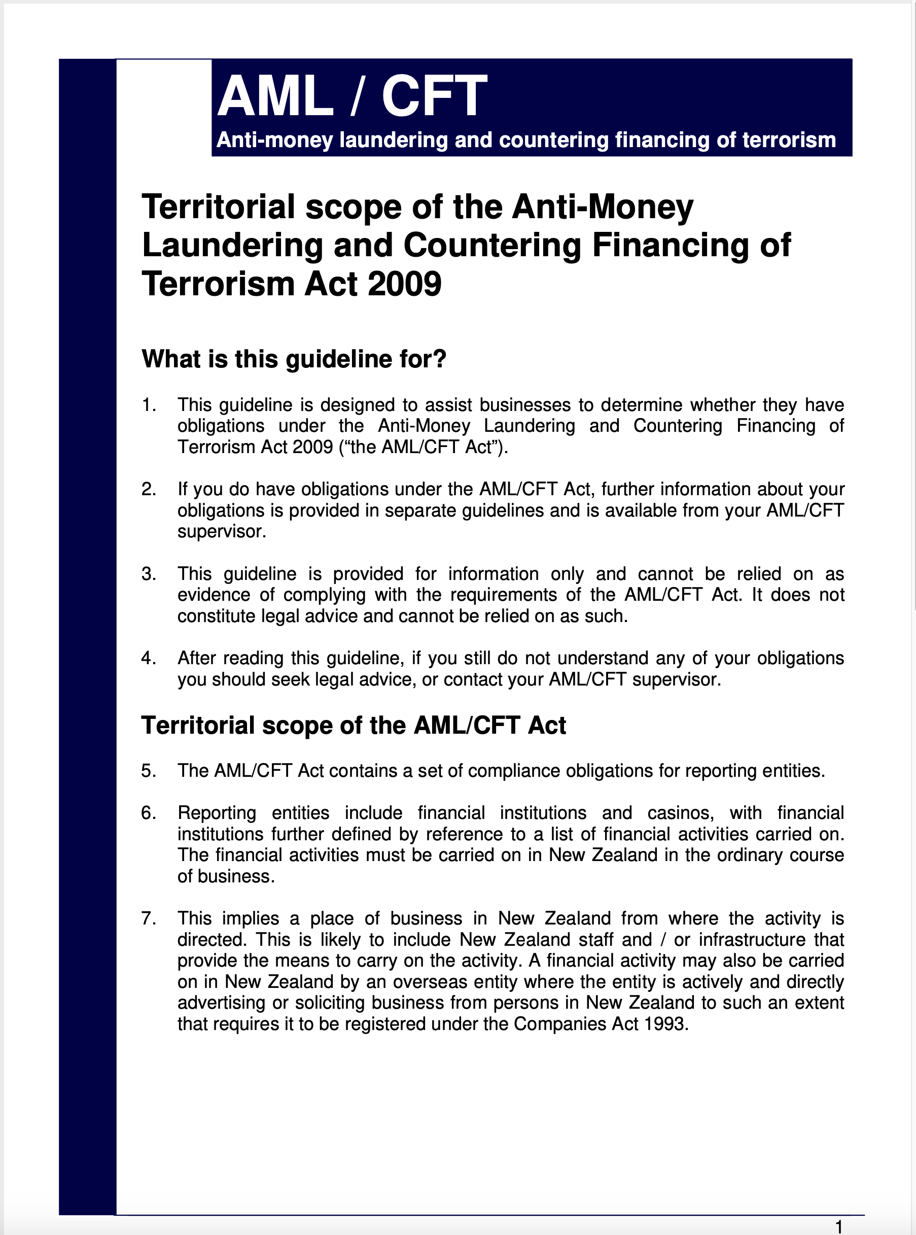 AML/CFT Act Territorial Scope